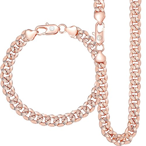 Trendsmax 9mm Wide Rose Gold Plated Curb Cuban Mens Womens Chain Bracelet Necklace Jewelry Set Bracelet 9inch Necklace 24/26inch