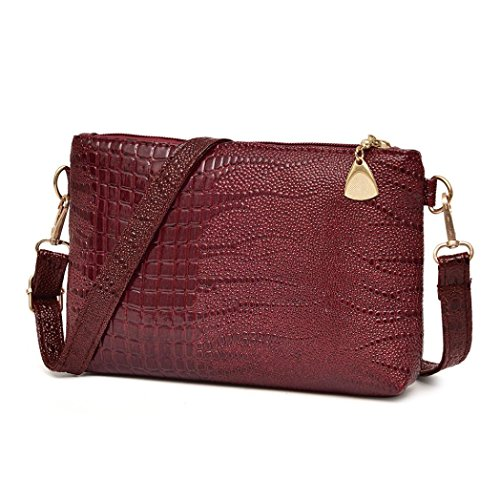 Wine Duffel Rose - Women Fashion Crocodile Pattern Crossbody Shoulder Bag Small Tote (Wine)