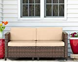 Outroad 2 Piece Wicker Loveseats – All Weather Brown Striped Wicker Patio Furniture W/Beige Zippered Cushions,Outdoor Garden Conversation Set, Additional Seats for Sectional Sofa