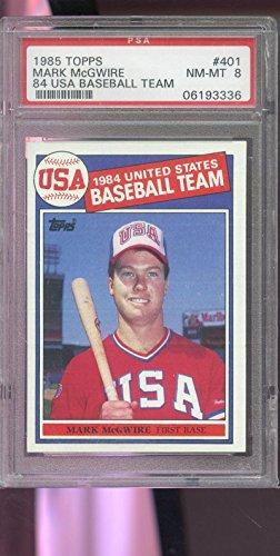 1985 Topps #401 Mark McGwire 1984 USA Team ROOKIE RC PSA 8 Graded Baseball Card