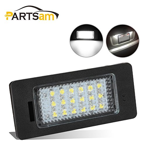 Partsam 2PCS License Plate Lights Assembly Error Free LED Lamps Replacement for BMW X5 X6 E39 E60 E90 E92 1 3 5 X Series Replacement White Rear License Tag Lights Plate Lamp ()