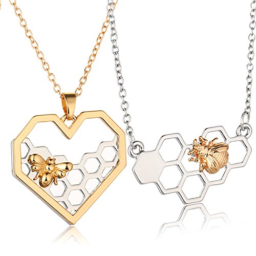 Charm Fashion Silver Necklaces for Women Girl Heart Honeycomb Bee Animal Pendant Choker Necklace Jewelry Party Prom Gift by KathShop (Image #6)