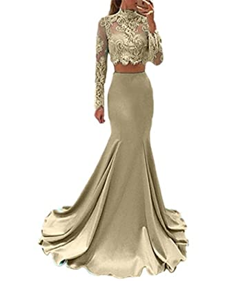 Liaoye Long Sleeves Mermaid Prom Dress Two Pieces Lace Long Party Gown Champagne 2