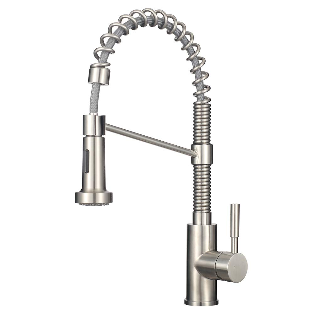 MSTJRY Kitchen Faucet with Stainless Steel Spring Brushed Nickel Pre-Rinse Pulldown Sprayer Single Handle Pull Out Kitchen Sink Faucet without Deck Plate