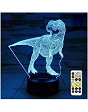 ZOKEA Dinosaur Toys, T Rex Night Lights for Kids 7 Colors Changing 3D Night Light with Timer & Remote Control & Smart Touch, T Rex Toys Birthday Gifts for Boys Age 2 3 4 5 6+ Year Old Boy Gifts
