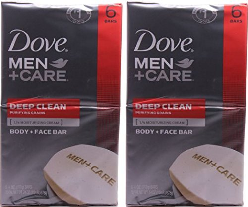 Dove Men+Care, Deep Clean Body + Face Bar, 4 Ounce, 6 Count, (Pack of 2)...