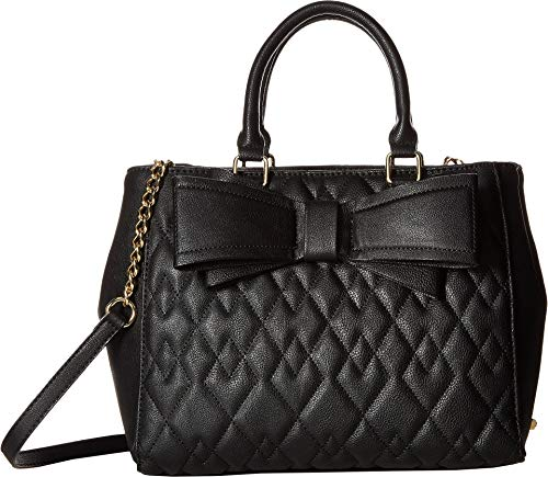 Lined Quilted Satchel - Betsey Johnson Women's Quilted Satchel Black One Size