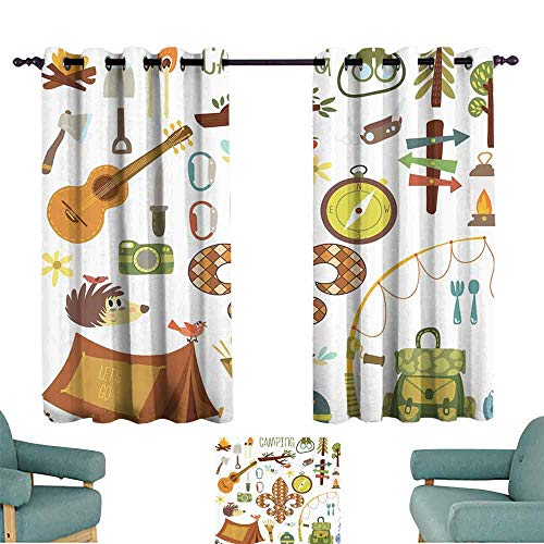 DILITECK Warm Curtain Fleur de Lis Camping Equipments Boy Scout Campfire Symbol Fishing Lure Fancy Decorations Lake Blackout Draperies for Bedroom Living Room W55 xL63 Brown Mustard Green White