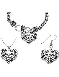 Sweet Sixteen Necklace, Earring, Bracelet Set, Hypoallergenic, Safe-Nickel, Lead, and Cadmium Free.