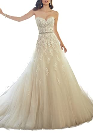 ASA Bridal Women\'s Wedding Dresses Elegant Lace Gown for Bridal at ...
