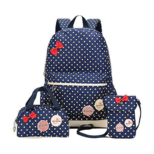 Moonwind Polka Dots Bow 3pcs Kids Book Bag School Backpack Handbag Purse Set for Girls Teen (Navy)