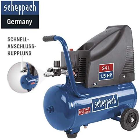 Kompressor Hc25o Scheppach 220 240v 50hz 1100w 24l Mit 5tlg Zubehör Set Und Luftverteiler Baumarkt