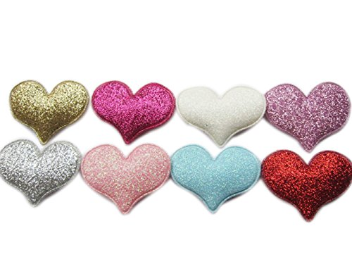 """YYCRAFT Pack Of 80 Glitter Heart Padded 1.5"""" Appliques -8 Colors"""