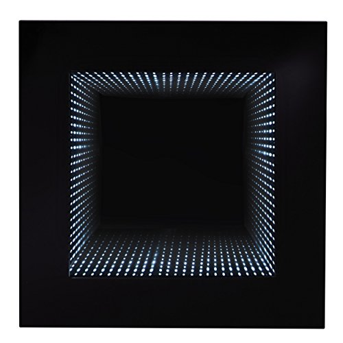 Homelegance Decorative Mood Light with Led Lights Wall Accent Lighting Infinity Mirror with black Wooden Frame by Homelegance