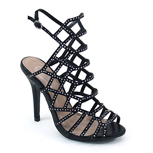New Brieten Womens Rhinestones Strappy Peep Toe Ankle Strap High Heel Slingback Dress Party Sandals LQ7nwzd9