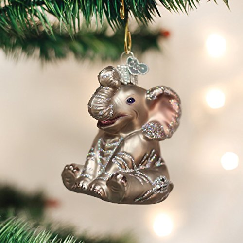 Old World Christmas Ornaments: Little Elephant Glass Blown Ornaments for Christmas Tree