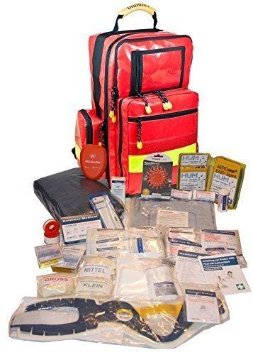 Erste Hilfe Notfallrucksack aus Plane für Ski & Wintersport mit aktiver selbstaufheizender Wärmedecke und Powerflarewarnleuchte