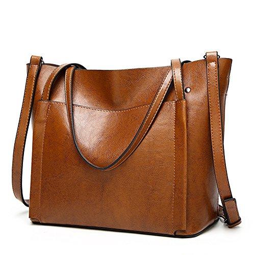 Lady Women Large Designer Tote Purse PU Leather Shoulder Work Handbag Wide Diaper Bag With Side Pocket by H.Tavel