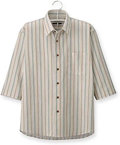 (ポールミラー) Paul Miller 日本製 高島ちぢみストライプ7分袖シャツ