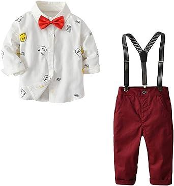 Suncaya Conjunto para Bebé Niños Camisa de Lindo Estampado + Chaleco + Pantalones con Tirantes + Corbata de Lazo Traje: Amazon.es: Ropa y accesorios