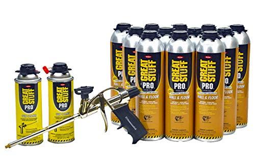 Dow Great Stuff PRO Wall and Floor Kit, 12-26.5 oz Wall & Floor, AWF Pro Foam Gun, 2 ()
