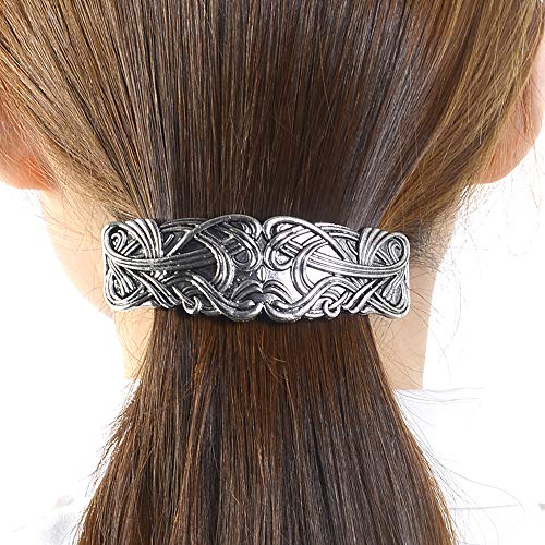 Art Nouveau Swirl Hair Clip - Viking Celtic Beast Face Metal Barrette with a Large 80mm Clip for Women Thick Hair Jewelry Accessories (Face)