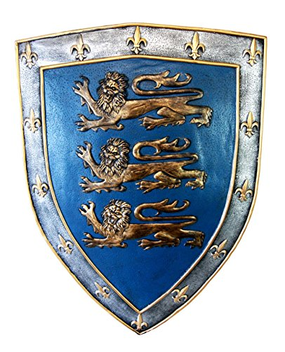 Ebros Gift Large Medieval Knight Royal Arms of England Three Lions Shield Wall Plaque 18