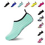 Mens Womens Water Shoes Barefoot Beach Pool Shoes Quick-Dry Aqua Yoga Socks for Surf Swim Water Sport (Green, 38/39EU)