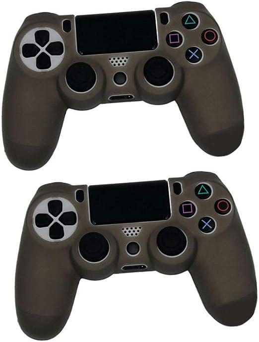 Yiliankeji Carcasas para PlayStation 4 - Cubierta de Silicona Suave Antideslizante Empuñadura Estuche Protector Carcasa Cubierta Piel para Controlador Gris (juego de 2): Amazon.es: Videojuegos