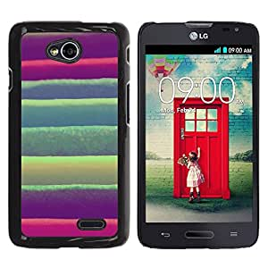 TECHCASE**Cubierta de la caja de protección la piel dura para el ** LG Optimus L70 / LS620 / D325 / MS323 ** Stripes Green Pink Purple Fabric Textile
