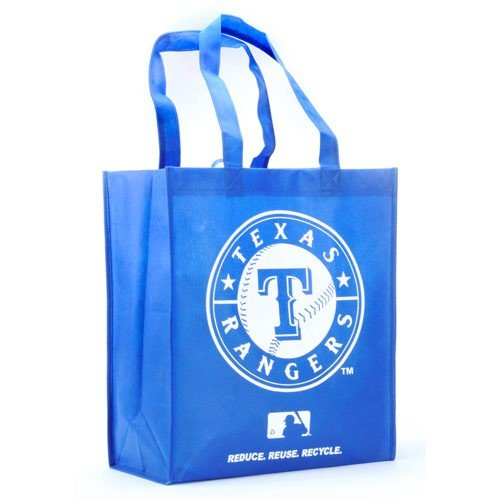 FOCO Texas Rangers Printed Non-Woven Polypropylene Reusable Grocery Tote Bag (Texas Rangers Bag)