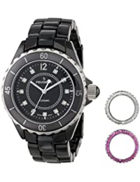 Women's PS4900BK Ceramic Watch with Two Interchangeable Swarovski Crystal Bezel Covers