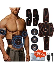 Abdominal Muscle Stimulator, Jaspik ABS Trainer EMS Wireless Abdominal Muscle Toner Exerciser Toning Belt Rechargeable Fitness Training Gear 8 Pack for Home Gym Workout with 16 Gel Pads for Men &Women