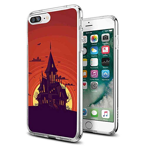 Compatible iPhone 8 Plus (2017), iPhone 7 Plus (2016) [5.5 Version] Haunted Manor Shock Absorbent -