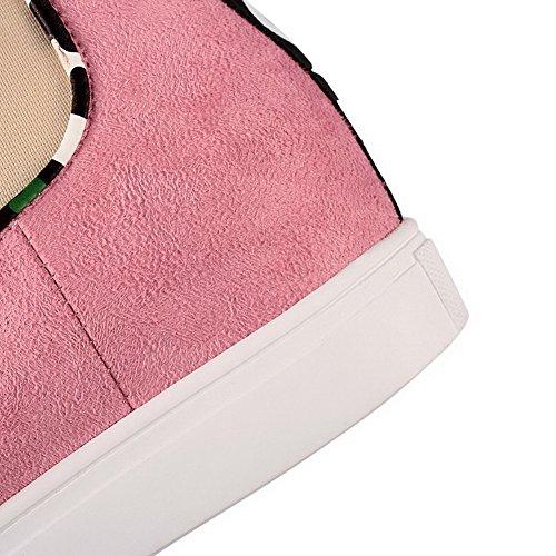 AllhqFashion Mujeres Mini Tacón Colores Surtidos Puntera Redonda Esmerilado Sin cordones Botas Rosa