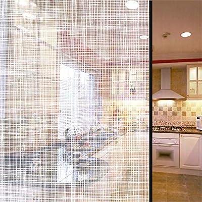 Malla Blanca Transparente Rayas Decoración Vinilo para Ventana Pegatina Adhesivo para Oficina, Sala De Estar Cocina Puertas Corredizas Partición Decorativa Film De Vidrio,152x600cm(60x236inch): Amazon.es: Hogar