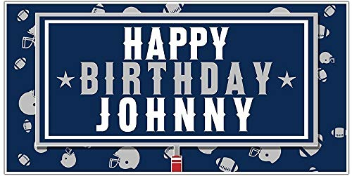 Football Party Blue and White Personalized Birthday Banner Decoration -
