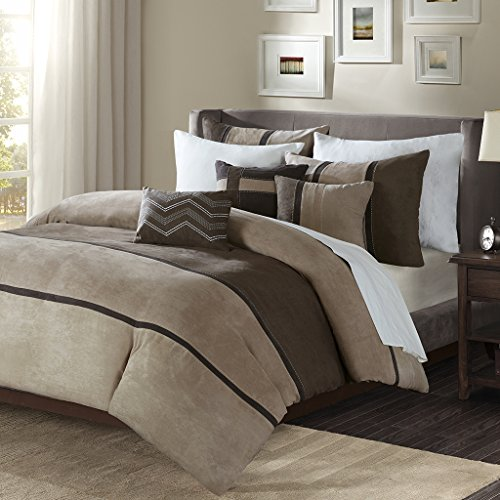Comforter Palisades Set (Madison Park Palisades Duvet Cover King/Cal King Size - Brown, Taupe, Pieced Stripe Duvet Cover Set – 6 Piece – Micro Suede Light Weight Bed Comforter Covers)