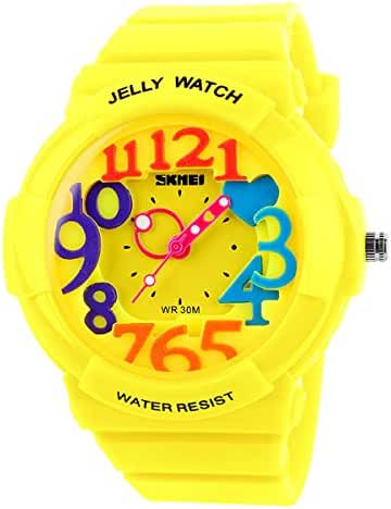 Classical Fashion Water-resistance Watches for Children Casual Kids Watch Students Watch Boys Girls Outdoor Sports Watch Christmas Gift Watch (Yellow)