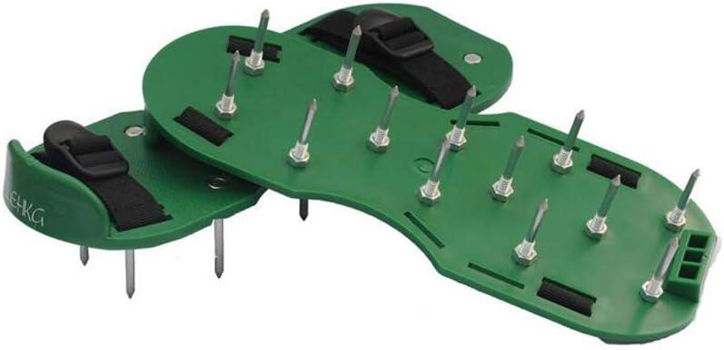 El aireador de césped Zapatos creativo para trabajo pesado con pinchos zapatos de las sandalias de correas ajustables Diseño El aireador Zapatos hebillas de metal portátiles para jardín 1pc verde: Amazon.es: Hogar