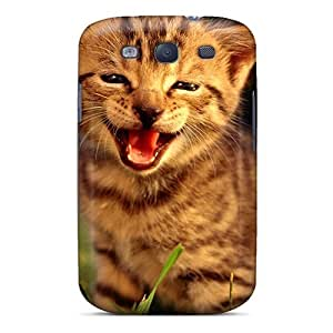 Galaxy S3 Hard Back With Bumper Silicone Gel Tpu Case Cover Friendly Kitten