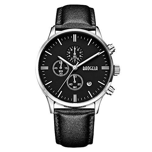 BAOGELA Men's Business Watch Fashion Chronograph Casual Ultra Thin Quartz Watches with Stainless Steel Mesh (H Black Silver)