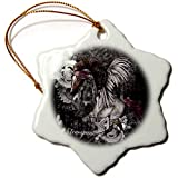 3dRose Heike Köhnen Design Steampunk - Amazing steampunk horse with wings - 3 inch Snowflake Porcelain Ornament (orn_287305_1)
