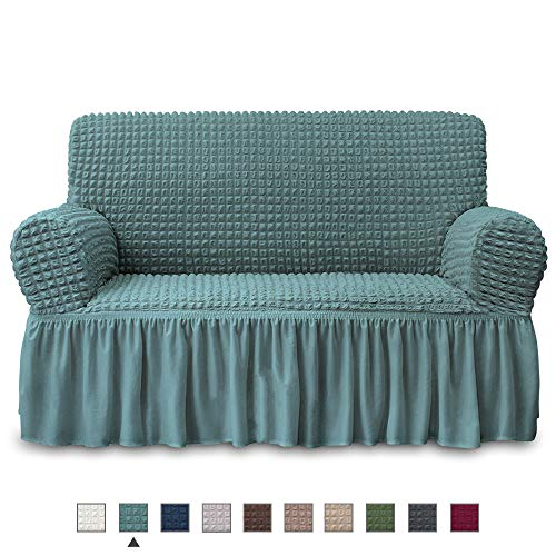 NICEEC Loveseat Slipcover Sage Loveseat Cover 1 Piece Easy Fitted Sofa Couch Cover Universal High Stretch Durable Furniture Protector Love Seat with Skirt Country Style (2 Seater Sage) (Loveseats Country Style)