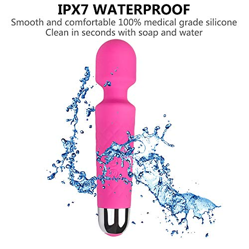 Handheld Personal Wand Massager Rechargeable with 8 Powerful Speeds 20 Vibration Modes, Cordless, Waterproof Massager for Muscle Aches Sports Recovery, Whisper Quiet - Pink