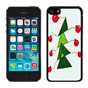 linJUN FENGDiy Design iphone 5/5s TPU Case Christmas Tree Black iphone 5/5s Case 12