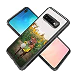 Case for Samsung Galaxy S10 Plus Cows and Sunflowers Case Hard PC Black Cover Case Waterproof Shockproof Durable Protective Case