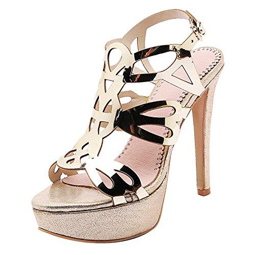 d'Été Plate TAOFFEN Bout Chaussures Ouvert à Talon Forme Femmes Gold Haut Sandales w07A6q