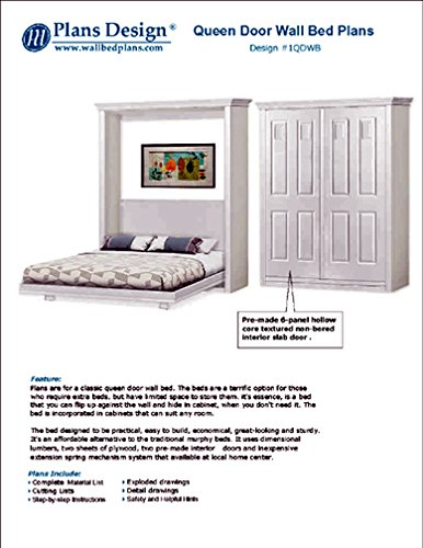 Build queen Murphy bed with pre-made interior panel 4-panel door style, woodwoking plans- Design 1QDWB by Plans Design