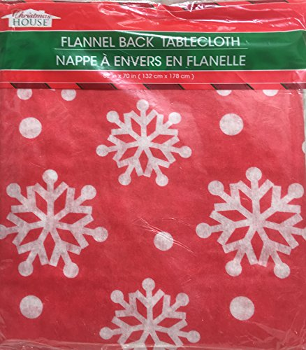 Christmas House Flannel Back Tablecloth ~ 54